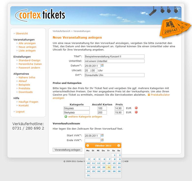 Online Kartenvorverkauf Mit Cortex Tickets